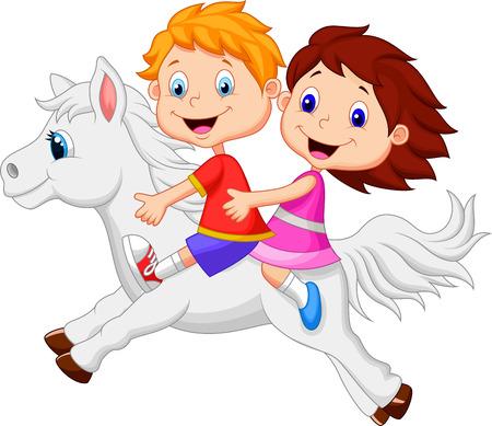 niño: Muchacho de la historieta y muchacha que monta un caballo pony