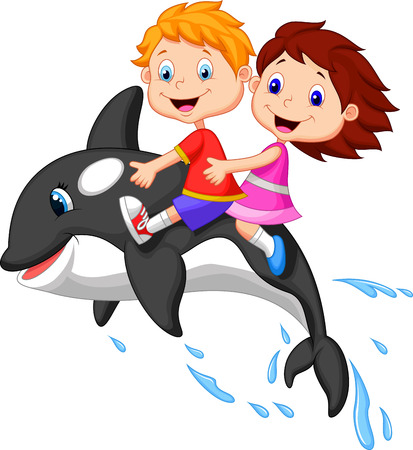 cartoon whale: Cartoon Boy and girl riding orca  Illustration