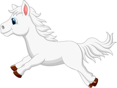 pony tail: Cute cartoon white pony horse running  Illustration