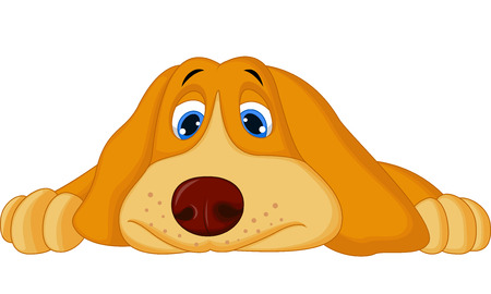 Cute cartoon dog lying down  Vector