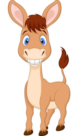 Cute donkey cartoon  Vector
