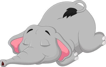 sleeping child: Cartoon elephant sleeping  Illustration