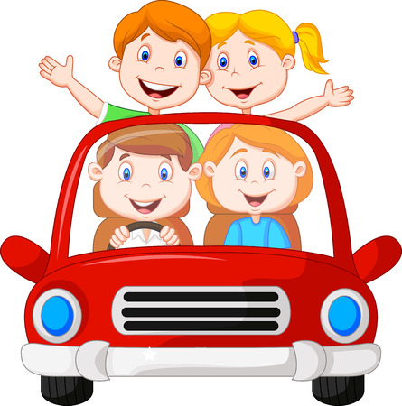 Road Trip with family cartoon Stock Vector - 23006449