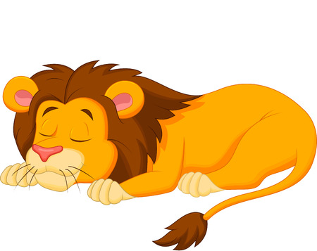 cat sleeping: Lion cartoon sleeping