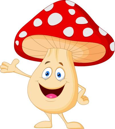 귀여운 버섯 만화 일러스트
