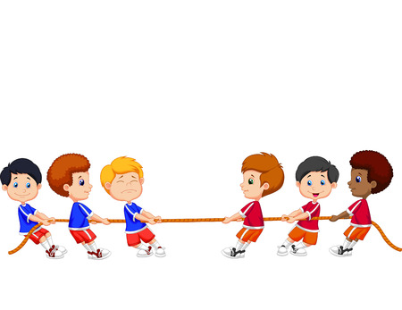 disagreement: Cartoon Group of children playing Tug Of War