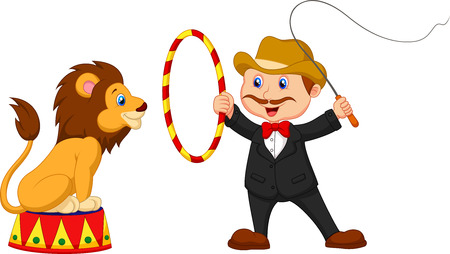 Cartoon Lion Tamer with lion  Vector