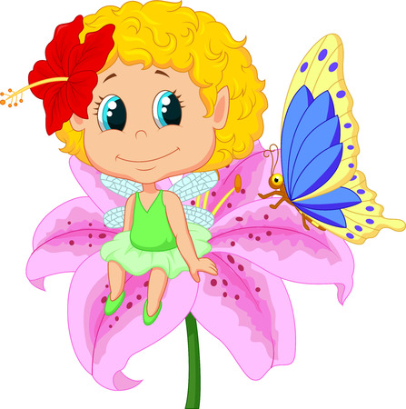 clipart: Baby fairy elf tecknad sitter på blomma Illustration