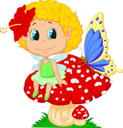 Cartoon Baby fairy elf sitting on mushroom  Vector