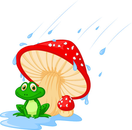 Cartoon mushroom with a toad  Vector