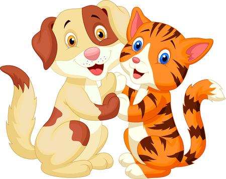 happy cat: Nette Katze und Hund Cartoon