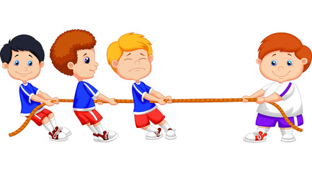 tug war: Cartoon Kids playing tug of war
