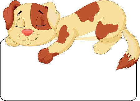 sleepy: Cute dog cartoon sleeping on the white blank label