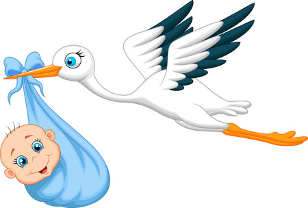Cartoon Stork with baby Stock Vector - 23006526
