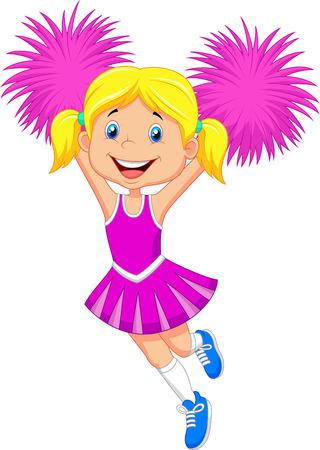 baloncesto chica: Cheerleader Cartoon con Pom Poms Vectores
