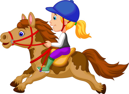carreras de caballos: Cartoon Niña que monta un caballo pony