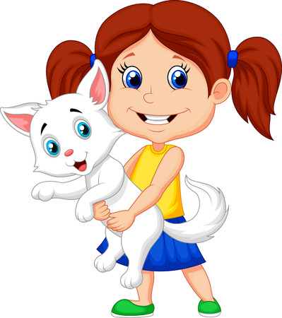 cute cat: Happy cartoon little girl hugging her pet