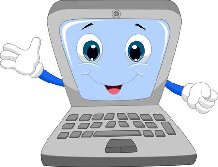 computadora caricatura: Historieta laptop lindo agitando la mano