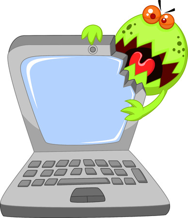 unprotected: Cartoon Laptop attacking by virus