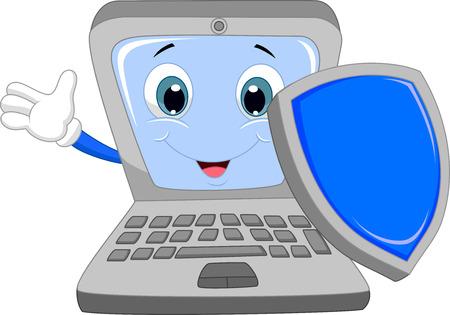 Laptop cartoon holding a shield