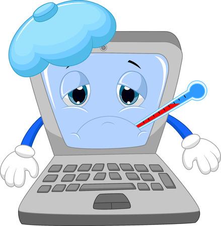 computadora caricatura: Dibujos animados port�til Sick