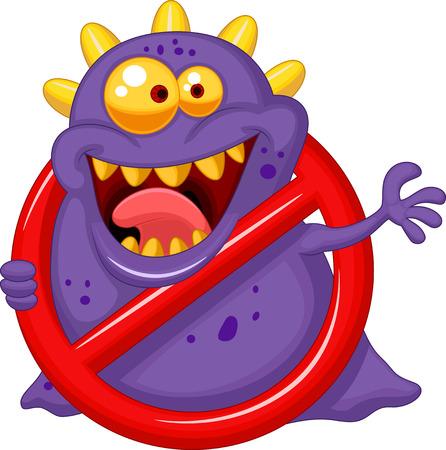 Cartoon Stop virus - paars virus in rood waarschuwingsteken Stock Illustratie