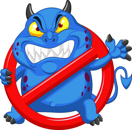 alerts: Cartoon Stop virus - blue virus in red alert sign  Illustration