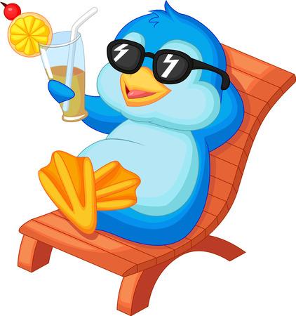 ビーチの椅子に座ってかわいいペンギン漫画