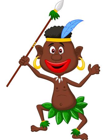 cannibal: Happy indigenous people cartoon dancing