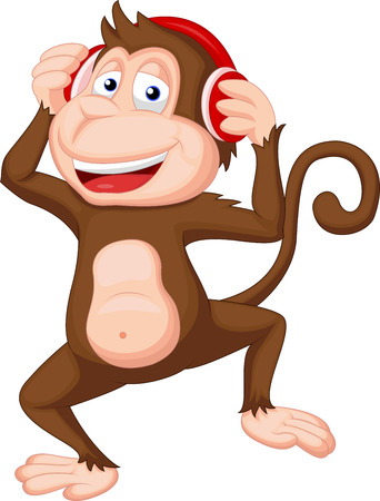 earphones: Cute monkey cartoon dancing