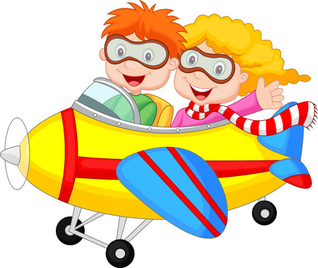 aerodrome: Cute cartoon boy and girl on a plane