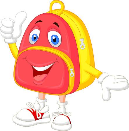 bag cartoon: Cute bag cartoon with thumb up