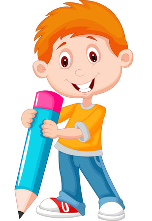 school activities: Little boy cartoon with pencil  Illustration