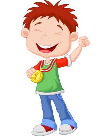 Cartoon Little boy celebra la sua medaglia d'oro Vettoriali