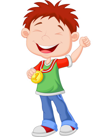 Cartoon Little boy celebrates his golden medal  Vector