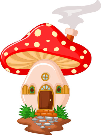 cute fairy: Cartoon Mushroom house