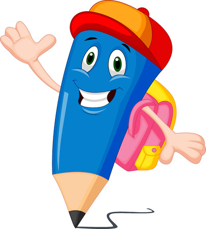 Pencils cartoon with school bags  Vector