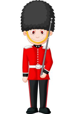 obediencia: Caricatura de un Guardia Real Británica Vectores