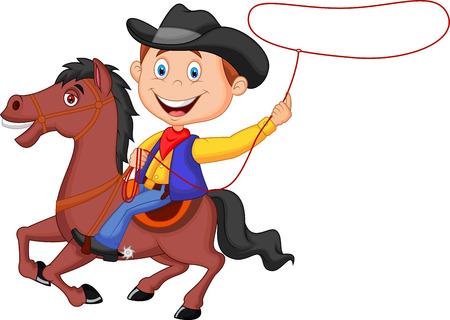 the rider: Cartoon Cowboy cavaliere sul cavallo gettando lazo Vettoriali