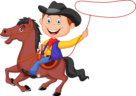 cowboy on horse: Cartoon Cowboy rider on the horse throwing lasso