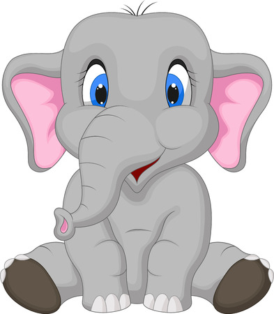 Cute elephant cartoon sitting  Ilustracja