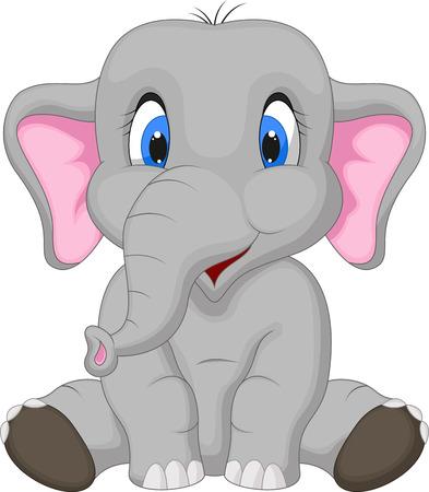 elefante cartoon: Historieta del elefante lindo que se sienta