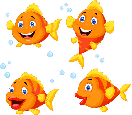 vague ocean: Jeu de collection de bande dessin�e de poissons mignon