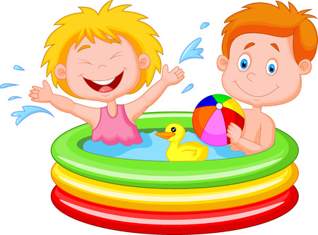 boy bath: Cartoon Kids Playing in an Inflatable Pool  Illustration