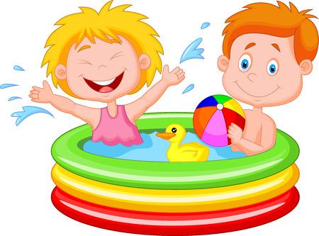 kind spielen: Cartoon Kinder spielen in einem aufblasbaren Pool