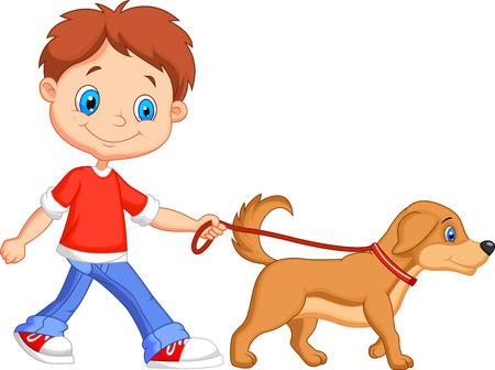 perro caricatura: Muchacho de la historieta linda que recorre con el perro Vectores