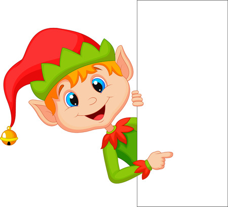 Cute christmas elf cartoon pointing