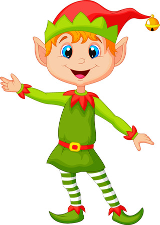 funny: Cute christmas elf cartoon presenting Illustration