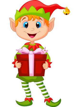 duendes de navidad: Cute elfo de Navidad de dibujos animados que sostiene un regalo Vectores