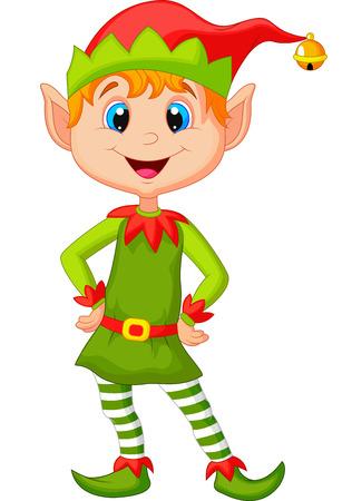 Schattig en gelukkig op zoek Kerstmiself cartoon Stock Illustratie
